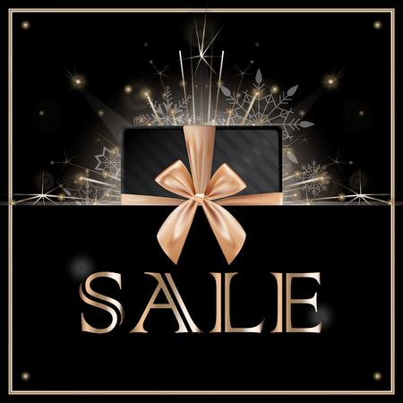 Sale discounts concept with fireworks sparklers. Banner, poster, flyer, card for web or print. Christmas decoration. Celebration. Realistic sparkler lights isolated on black. Vector illustration