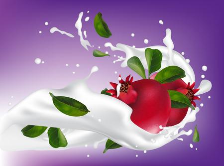 Milk or yogurt splash pomegranate fruit realistic 3d illustration for packaging. Pomegranate is falling into milk cocktail. Vector Illustration