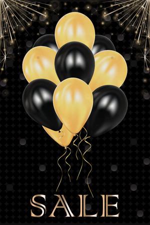 Christmas decoration balloons. Celebration. Realistic sparkler lights isolated on black. Bright fireworks. Glittering stream of golden sparkles. Vector illustration  design element.
