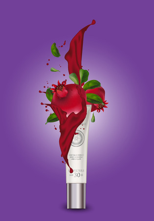 Cosmetic luxury Pomegranate Container packaging, plastic tube. Pearl tube mock-up for oil, face moisturizer cream, toothpaste, scrub or gel. Isolated background. Vector Illustration  イラスト・ベクター素材
