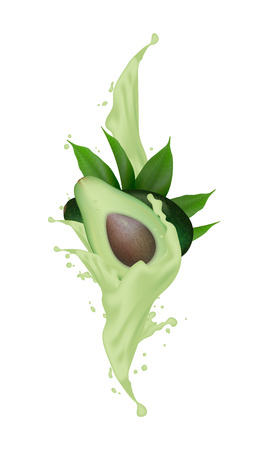 Avocado realistic 3d fruit with splashing. Vector illustration eps 10. Çizim