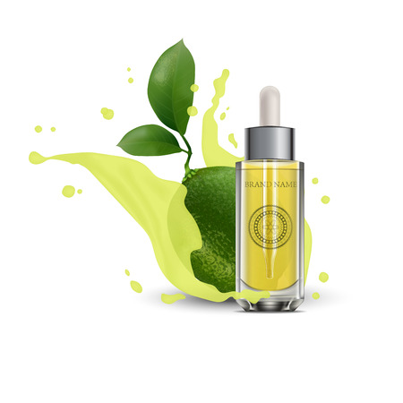 Realistic 3d essential oil cosmetics bottle. Mock up bottle, vial, container, flask, falcon with lime and juice. Vector illustration. EPS 10