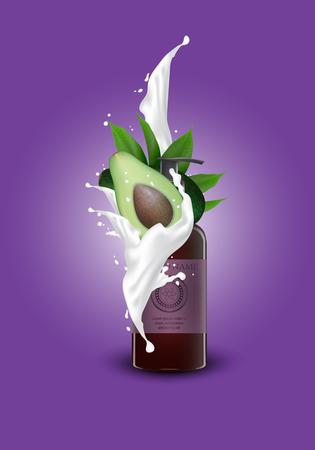 Cosmetic avocado banner magazine template for skincare products on purple geometric background. Cream splashing. 3d jars of cosmetics realistic illustration vector. Illustration