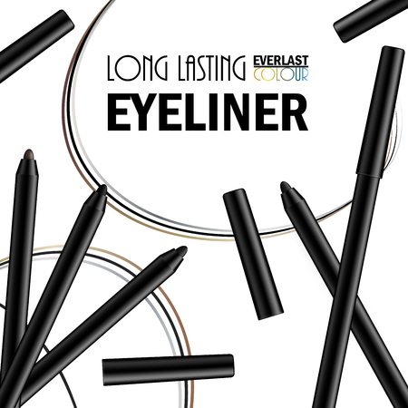 Beautiful Eyeliner Pen Poster for the promotion of cosmetic premium product. Cosmetic ads for packaging  with liquid smear ink elements. Design of New Product. 3d Vector Illustration