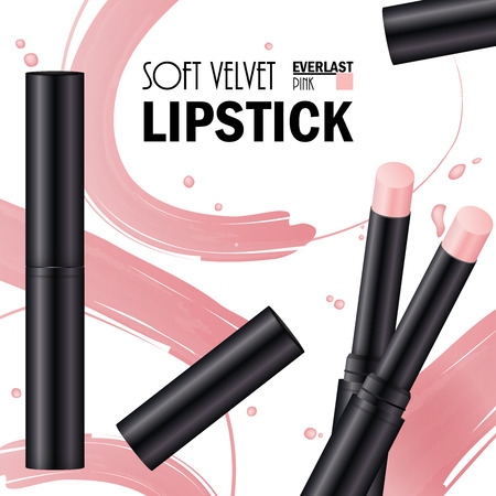 Lipstick soft velvet pink advertising template. Fashion banner makeup lipstick. Cream smear cosmetics. Vector illustration. Ilustração