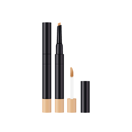 Concealer make up design template. 3d realistic product. Cosmetics isolated on white. Vector Illustration.  イラスト・ベクター素材