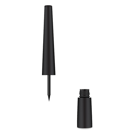 Eyeliner. Liquid 3d liner. Cosmetics template. Female cosmetic tube. Vector illustration.