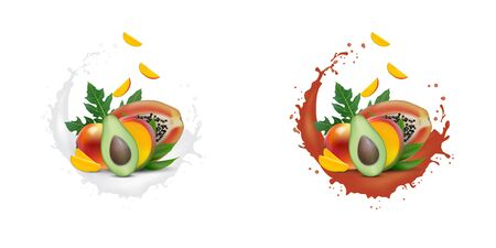 Ad 3d promotion banner, Realistic mango, avocado, papaya with falling slices. Ice cream, yogurt, juice brand advertising. Label poster template. Splash design. Banco de Imagens - 134479948