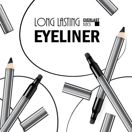 Beautiful Eyeliner Pen Poster for the promotion of cosmetic premium product. Cosmetic ads for packaging  with graphic elements. Design of New Product. 3d Vector Illustration Banco de Imagens - 133314556