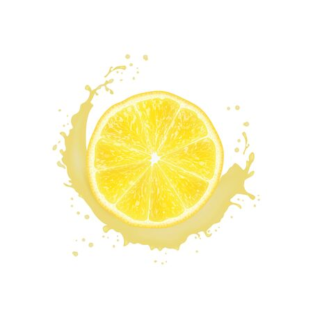 Realistic 3d Vector Illustration. Sliced   lemon. Milk juice splash. Colourful citrus background. Banco de Imagens - 133314568