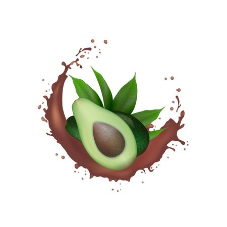 Realistic Fresh Green avocado fruit cacao splash.  Avocado Half with leaves in swirl motion splashing. Organic product package design. Vector illustration. Banco de Imagens - 133314569