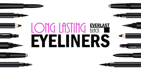 Beautiful Eyeliner Pen Set Poster for the promotion of cosmetic premium product. Cosmetic ads banner for packaging  with graphic elements. Design of New Product. 3d Vector Illustration Illustration