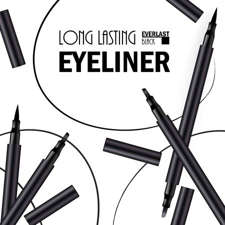 Beautiful Eyeliner Pen Poster for the promotion of cosmetic premium product. Cosmetic ads for packaging  with graphic elements. Design of New Product. 3d Vector Illustration Illustration