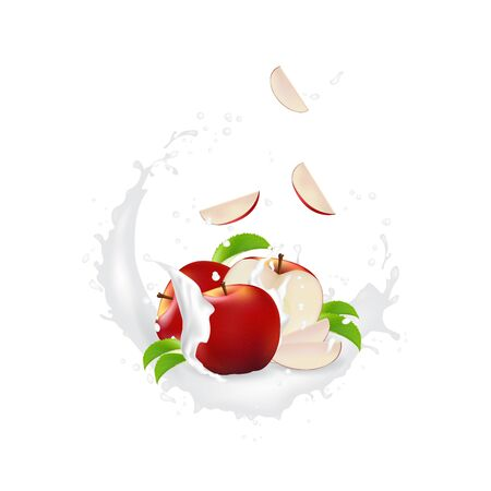 Milk splash 3d illustration with slices of   apple. Cream pouring wave yogurt packaging template. Realistic organic healthy fruit dairy product.