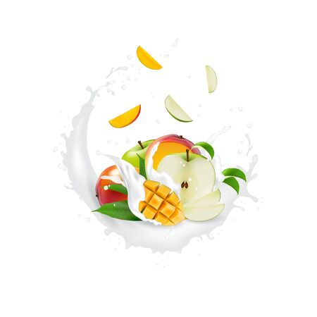 Fresh 3d realistic fruit slices with juice milk yogurt splash drops isolated on a white background. Packaging template. Realistic organic fruit dairy product. Ilustracja