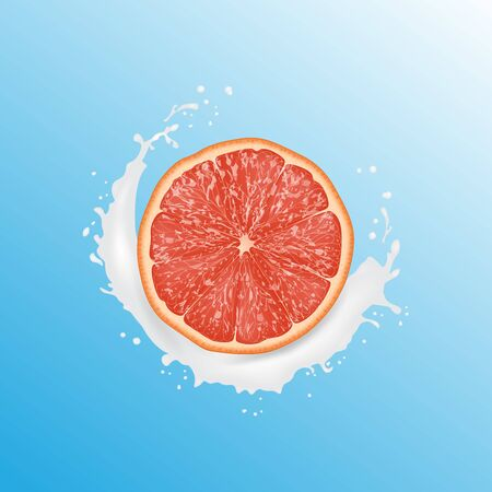 Realistic 3d Vector Illustration. Sliced   grapefruit. Milk juice splash. Colourful citrus background. 일러스트