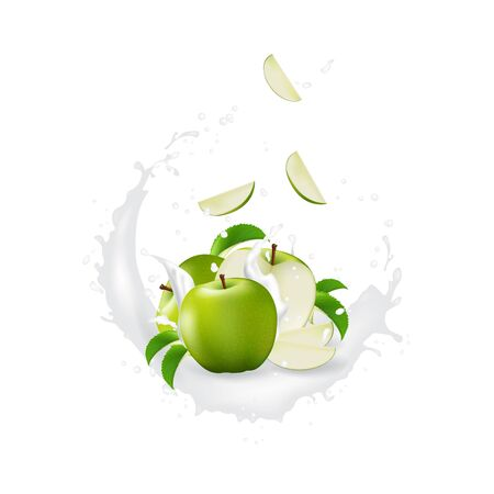 Milk splash 3d illustration with slices of   apple. Cream pouring wave yogurt packaging template. Realistic organic healthy fruit dairy product. Banco de Imagens - 134671722