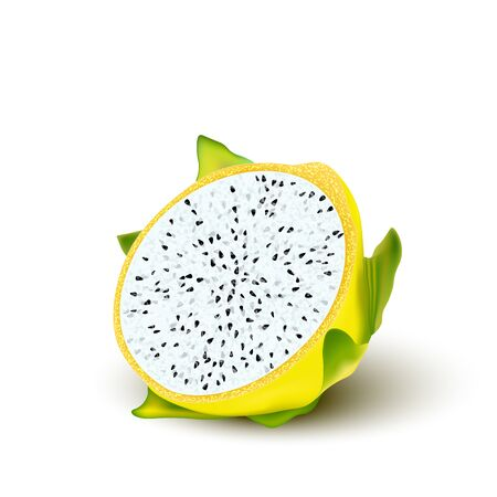Red yellow dragon fruit, whole fruit and half. Tropical fruits for healthy lifestyle. Realistic 3d Design Element For Web Or Print Packaging. Vector Illustration.