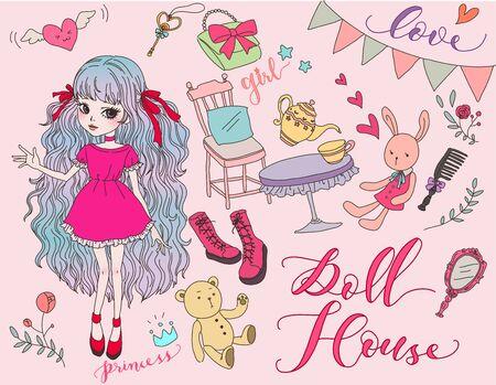 Cute Doll house sticker collection. Vektorové ilustrace