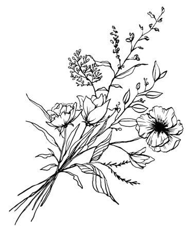 Hand drawn flower illustration. Ilustracja