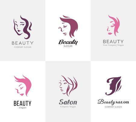 Conjunto de logotipo de salón de belleza