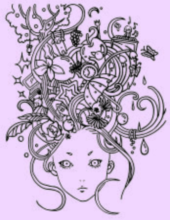 Dreamy Girl Complicated Line Illustration