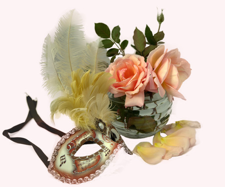 musik: Colorful carnival venetian musik mask with feathers and rose.