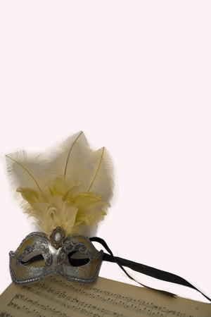 Silver carnival venetian mask with feathers  on music page. photo