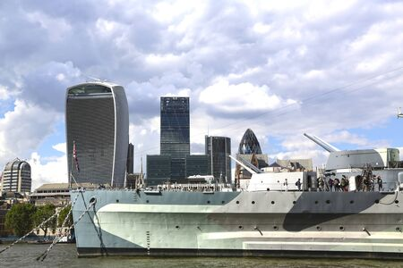 London, Great Britain -May 23, 2016: HMS Belfast, World War II museum with 9 decks and naval weapons, permanent mooring on the Thames. Sajtókép