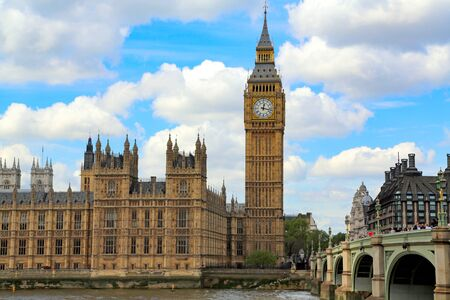 London, Great Britain -May 22, 2016: Nice view of Big Ben (Elizabeth tower) and Westminster Palace, the Houses of Parliament, the Parliament of the United Kingdom Editorial