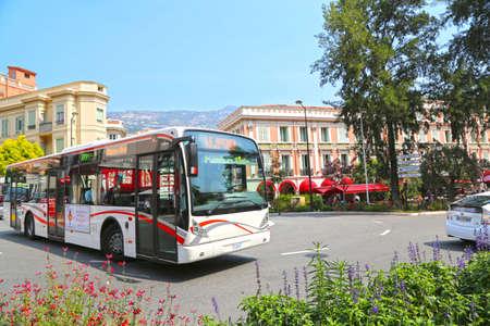 Monaco City, Monaco - June 13, 2014: regional bus on the street in the city center Editorial