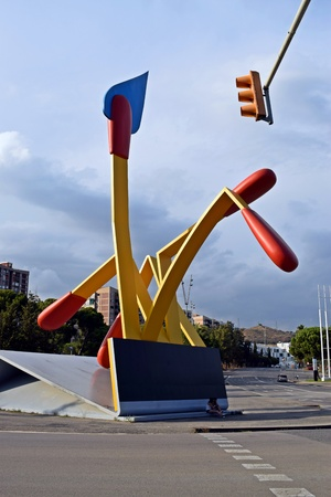 els: The Mistos, large sculpture, art, Els Mistos monument, sculpture Olympic Village in Barcelona 92, sculpture, matchbox monument in Barcelona mistos, artistic monuments, visit, sight