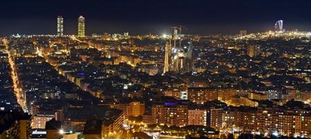 panoramics: Night panoramas cities Barcelona Spain