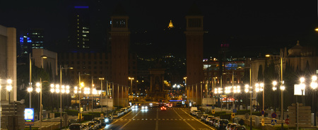 montjuic: Night views of water fountain and Plaza Espana Stock Photo