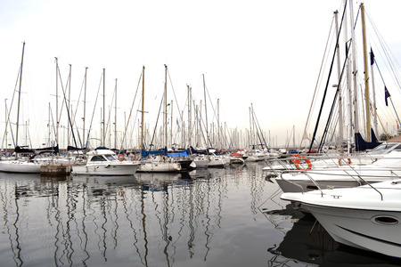 Boats moored in the harbor