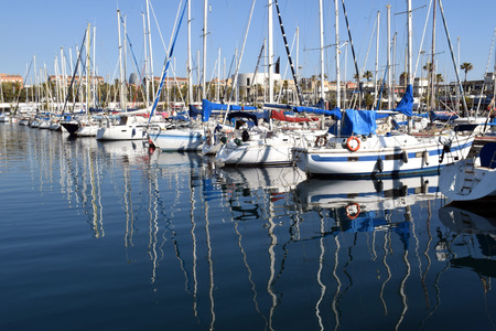 pleasure craft: Sailing yachts in the port in Spain