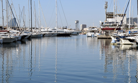 Sailing yachts in the port in Spain