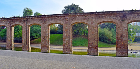 Aqueduct in El Clot public park in Barcelona Stock Photo