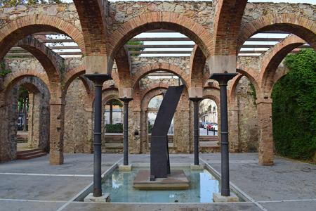 Architectural arches in public park El Clot in Barcelona