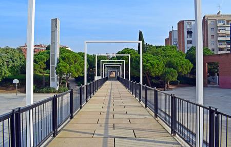 bridge walkway in El Clot Park Barcelona