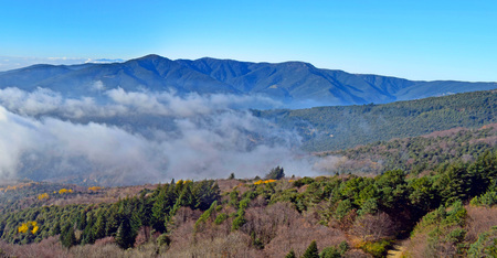 Cloud landscapes in the mountains of El Montseny in Barcelona Stock Photo