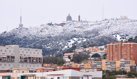 Snow in Collserola Mountain of Barcelona Stock Photo