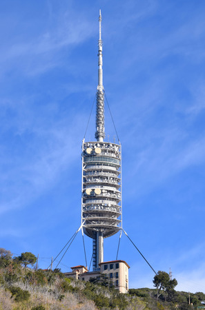 Communications tower on the Collserola mountain in Barcelona Stock Photo