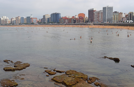 Beach of Gijon Spain Stock Photo - 115572372