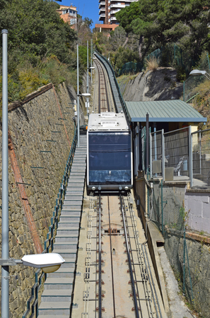 , Funicular of the Tibidabo, in Barcelona Stock Photo