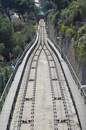 Funicular of the Tibidabo, in Barcelona Stock Photo