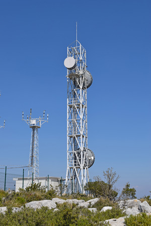 Telecommunications tower in El Garraf Mountains Barcelona