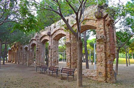 Aqueduct in El Clot public park in Barcelona Spain