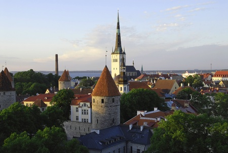 View from above at the roofes of Vana Tallinn buildings
