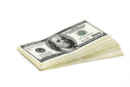 100 dollar biljetten op een witte achtergrond